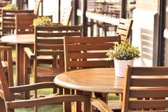 木桌,在咖啡馆安排的植物 免版税库存照片
