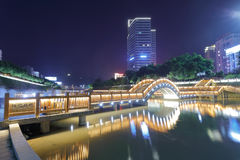 木桥夜视域 免版税库存图片