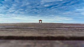 木桥梁向海洋 库存图片