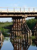 木桥梁的立足处 库存照片