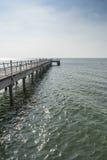 木桥走道到海里 库存照片
