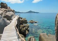 木桥,酸值Nang元海岛,泰国 免版税库存照片