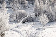 木桥从上面 库存照片