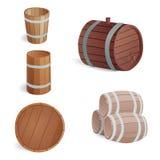 木桶葡萄酒老牌橡木贮存货柜和棕色减速火箭的液体饮料反对发酵 库存例证