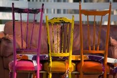 木椅子葡萄酒 免版税库存图片