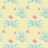 木槿启发了被绘的水彩珊瑚和绿色花卉设计 在被排行的织地不很细黄色的无缝的传染媒介样式 向量例证