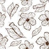 木槿的无缝的样式在纹身花刺样式开花 向量例证