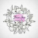 木槿花和叶子花束  免版税库存图片