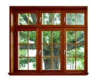 木橡木的视窗 免版税库存照片