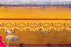 木檐口在寺庙的房檐装饰 免版税库存照片