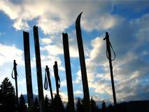 木残破的老的滑雪 库存照片