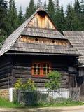 木民间房子在Zuberec博物馆 免版税库存图片