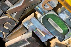 木活版类型字符,印刷术 免版税库存图片