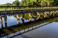木渔船坞在一个夏日 免版税图库摄影