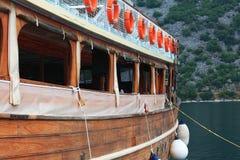 木游艇的片段 免版税库存照片