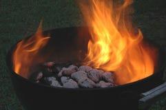木炭发火焰 免版税库存照片