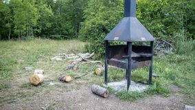 木炭格栅 巨大一点野餐区 库存图片