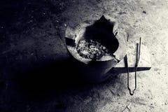 木炭火炉BW 免版税库存照片