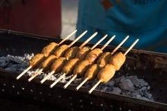 木炭烤泰国用咖喱粉烹调的鱼糕 库存图片