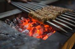 木炭kebab 免版税库存照片