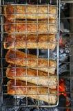 木炭kebab shish 库存照片
