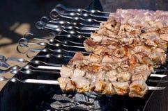 木炭kebab shish 免版税库存图片