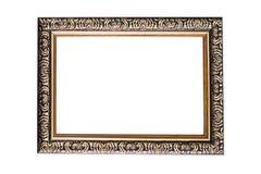 黑木照片框架被隔绝的白色背景 免版税库存图片