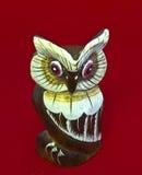 木猫头鹰有红色背景 免版税库存图片