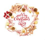 木玩具欢乐框架有文本的圣诞快乐 字法书法 库存照片