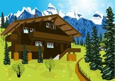 木瑞士山中的牧人小屋在农村夏天风景的山阿尔卑斯 库存照片
