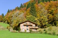 木瑞士山中的牧人小屋在瑞士阿尔卑斯的昂热尔贝格 免版税图库摄影