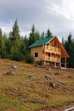 木瑞士山中的牧人小屋的建筑 库存图片