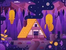 木瑞士山中的牧人小屋议院在森林里 皇族释放例证