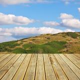 木甲板地板和夏天背景 图库摄影