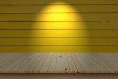 木甲板桌面和木黄色墙壁 库存图片