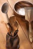 木的刀叉餐具 免版税库存照片