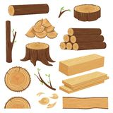 木的树干 被堆积的木材材料、树干枝杈和木柴采伐的枝杈 树桩,被隔绝的老木板条 向量例证
