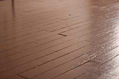 木的楼层被绘 免版税库存照片