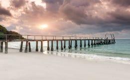 木的海放松桥梁 库存照片