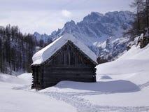 木的瑞士山中的牧人小屋 库存照片