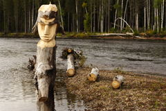 木的神象 库存照片