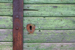 木的门锁 图库摄影