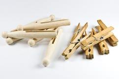 木的clothspins 免版税库存图片