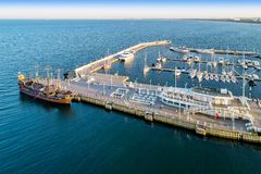 木码头在索波特波兰 鸟瞰图 免版税库存图片