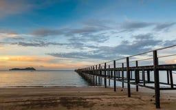 木码头,热带海岛 免版税库存照片