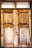 木窗口在古板的减速火箭的泰国 库存照片