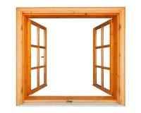 木窗口开放与大理石壁架 免版税库存照片