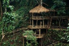 木竹小屋房子在森林里 免版税库存图片