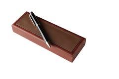 木笔箱子和笔 库存照片