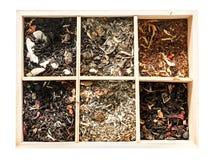 木箱,罕见的茶的惊人的收藏, topview 免版税库存照片